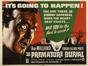 Movie poster for one of the many screen adaptations of Poe's The Premature Burial